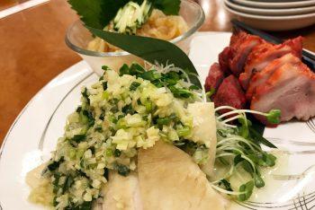 チャーシュー,くらげ酢,鶏の蒸し焼き